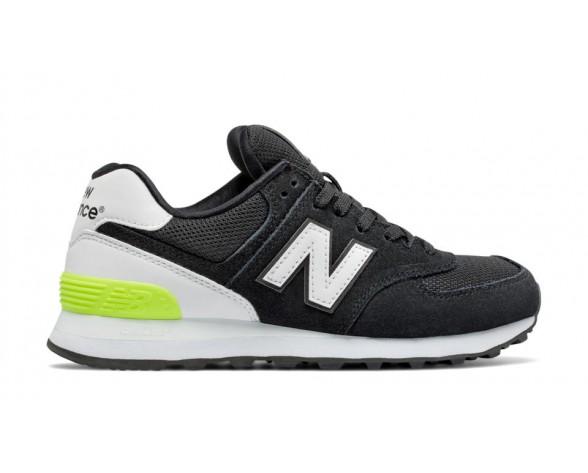 New balance chaussures pour femmes 574 suede lifestyle noir et blanc et hi-lite WL574-046