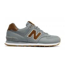 New balance chaussures unisex 574 15 ounce canvas lifestyle gris et marron ML574-151