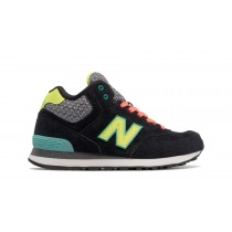 New balance chaussures pour femmes 574 canvas noir et teal et jaune WH574-040