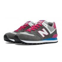 New balance chaussures pour femmes 574 core plus casual gris et rose glo et bolt WL574-037