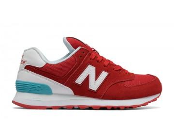 New balance chaussures pour femmes 574 suede lifestyle rouge et blanc et vivid ozone bleu WL574-243