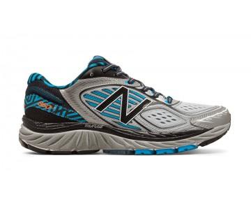 New balance chaussures pour femmes 860v7 course noir et metallic argent et bleu infinity W860-056