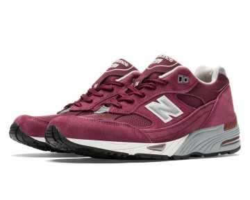 New balance chaussures unisex 991 pigskin casual bourgogne et argent M991-062